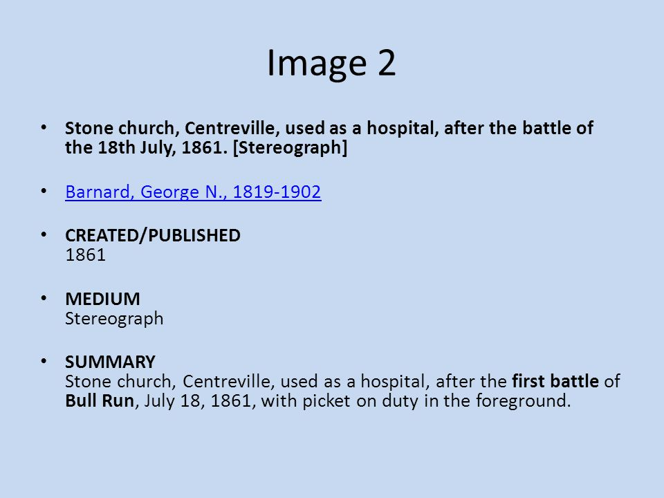 Image 2 Stone church, Centreville, used as a hospital, after the battle of the 18th July, 1861. [Stereograph]